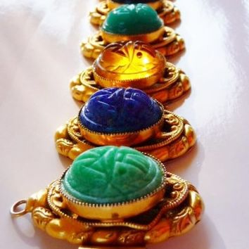 Egyptian Revival glass scarab faux gold bracelet | molded art glass scarabs | Art Deco bijoux | vintage estate jewelry | amethyst jade onyx
