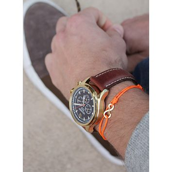 Infinity Bracelet - Orange cord men's bracelet with gold clasp