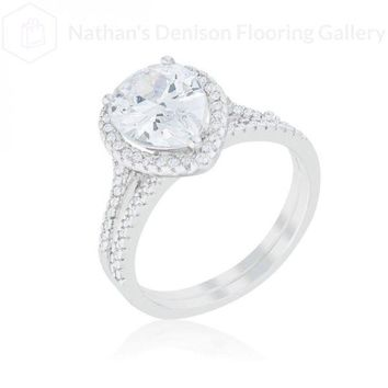 Halo Solitaire Pear Engagement Ring (size: 08) R08441R-C01-08