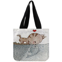 Cat and Fish Kissing - Totebags