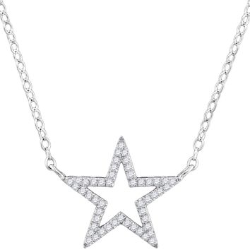 "10kt White Gold Womens Round Diamond Star Outline Pendant Necklace with 18"" Chain 1/8 Cttw"
