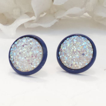 DRUZY EARRINGS, stud earrings, post earrings, 12mm, aroura borealis, navy setting, fashion forward, modern, sparkle earrings