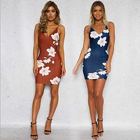 Fashion Strap Sleeveless V-Neck Flower Print Tight Pack-hip Mini Dress