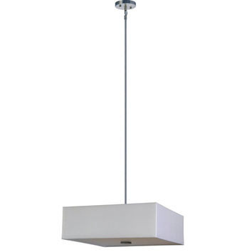 Yosemite Home Decor SH2222-4P-PWSS Lyell Forks Satin Steel Five Light Drum Pendant with Pristine White Shade