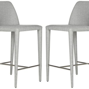 Garretson Counter Stool Grey Linen (Set of 2)