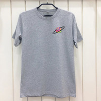 Saturn Tie Dye Pocket Gray T shirt Unisex XS S M L Tumblr Grunge Swag Outfit