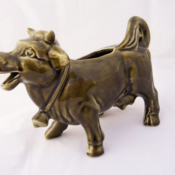 Vintage Laughing Cow Creamer, Green Cow Creamer - Arthur Wood of England, 1960s-1970s
