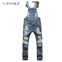 2017 European American Style Fashion Men Hip Hop Overalls Pants Skinny Overalls Ripped Jeans Plus Size Denim Jumpsuit 825