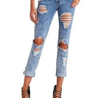"Refuge ""Boyfriend"" Acid Wash Shredded Jeans"