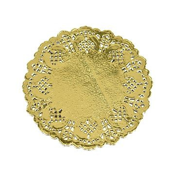Round Paper Lace Doilies, Gold, 4-1/2-Inch, 60-Count