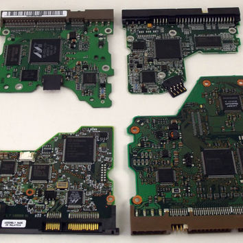 Lot of Four Green Printed Circuit Boards Art Supplies