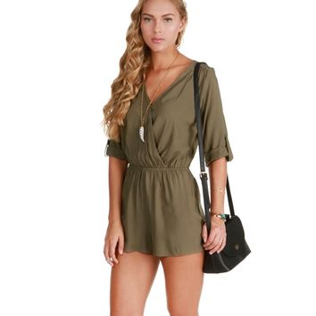 Olive Rolled Up Sleeves Romper