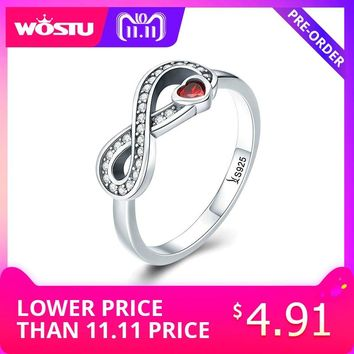 WOSTU 2018 Fashion 100% 925 Sterling Silver Infinity Forever Love Finger Ring for Women Wedding Engagement Jewelry Gift CQR415