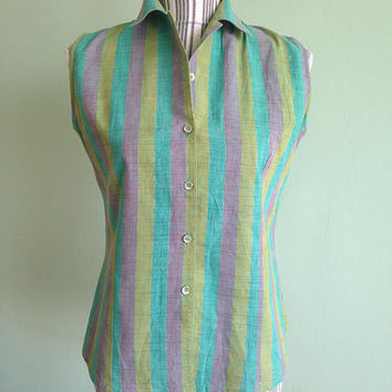Teal Blue Lilac Lime Green 80s Striped Shirt, Sleeveless Top, Button Down Shirt, Womens Cotton Shirt, Pastel Clothing,Multicolor Tank,Size M