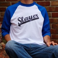 Slayer T-Shirt. Vampire Slayer Baseball Style Shirt. Graphic Tee. from Evangelina's Closet
