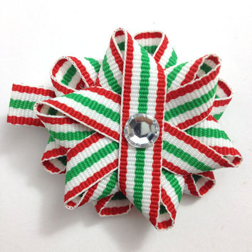 """Red & Green Christmas Stripe 2"""" Hair Bows - Handmade - Made To Order - No Slip Alligator Clip or French Barrette"""