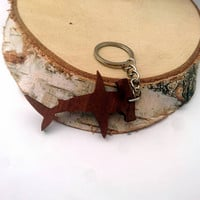Wooden Hammerhead Shark Keychain, Walnut Wood, Animal Keychain, Environmental Friendly Green materials