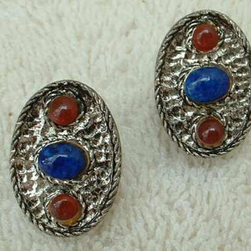 HOLLYCRAFT Blue Amber Cab Clip Earrings 1940s Vintage Jewelry