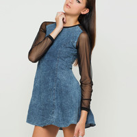 Motel Margie Sheer Sleeve Shift Dress in Acid Wash Denim