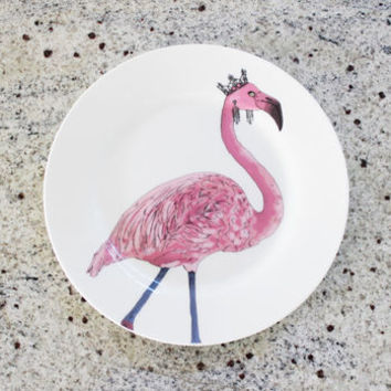 Flamingo Print Illustrated Side Plate