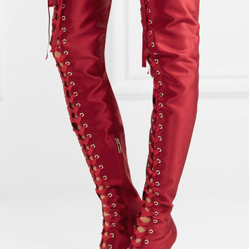 Gianvito Rossi - Lace-up satin over-the-knee boots