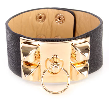 Black High Polish Metal Faux Leather Cute Bracelet
