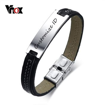 "Vnox Free Engraving Black Men's Leather Bracelet 7.87"" Stylish Customize ID Tag Stainless Steel Bracelet Male Jewelry"