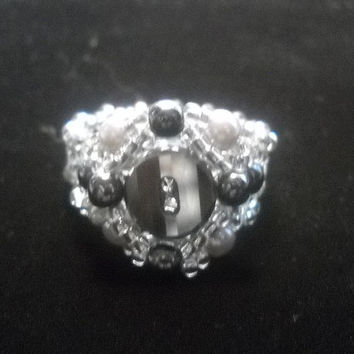 Button Beaded Ring Silver Tone