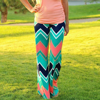 Green Chevron Print Yoga Pants