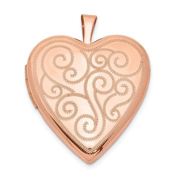 925 Sterling Silver Rose Gold-plated 20mm Swirl Design Heart Locket