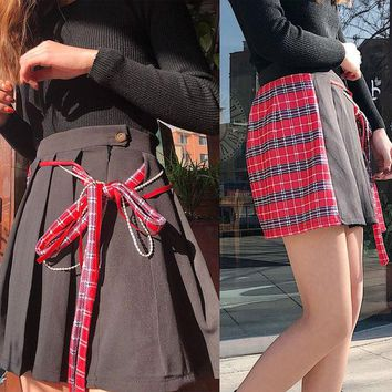 Women Pleat Skirt Harajuku Preppy Lace-up Skirts Mini Patchwork School Uniforms Ladies Plaid Kawaii Skirt Saia Faldas SK2519