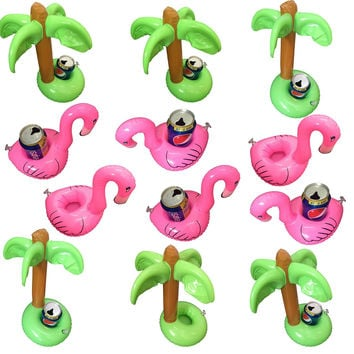 12 PC Flamingo Palm Tree Inflatable Party Pool Drink Floats