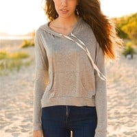 Carefree Forecast Knit Hoodie - Gray from Preppy at Lucky 21