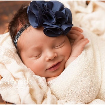 Navy newborn headband blue baby headband newborn photo prop flower girl headband
