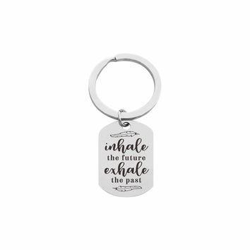 Solid Stainless Steel Inspirational Tag Keychain  - INHALE EXHALE
