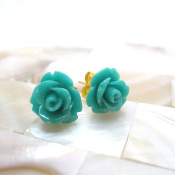 Turquoise rosette earrings blue turquoise by LazyOwlBoutique