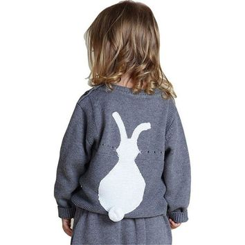 Precious Bunny Pullover with Fluffy Tail Sweater for Your Princess