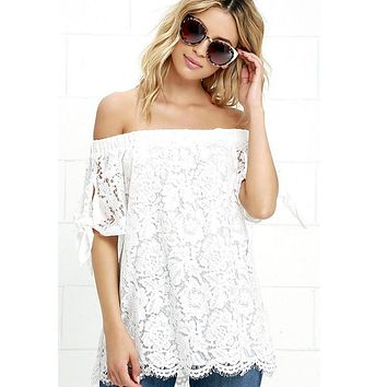 Lossky Off Shoulder Lace Crochet Shirts Fashion Blusas 2016 Summer Sexy Women Blouses Short Sleeve Casual Tops
