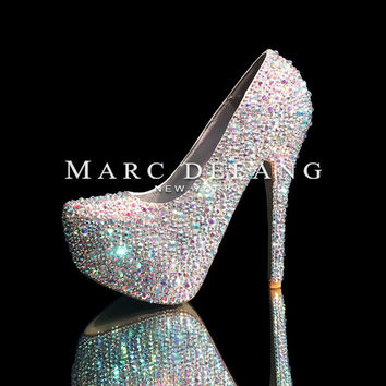 "6"" heels Luxury 3-8mm mixed size crystal luxury pumps"