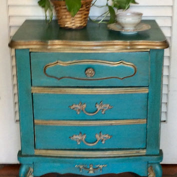 French Style Turquoise Nightstand 1950s
