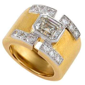 David Webb Mid-20th Century Diamond Gold and Platinum Ring