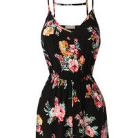 LE3NO Womens Lightweight Sleeveless Floral Print Jumpsuit Romper (CLEARANCE)