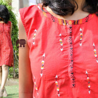 hand embroidered ikkat tunic