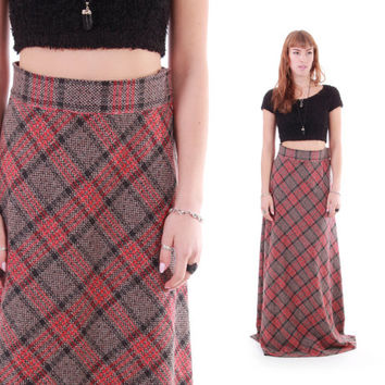 70s Plaid Wool Maxi Skirt Long Red and Brown Boho Preppy 1970's Vintage Winter Clothing Womens Size Small