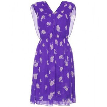 Anna Sui Silk Purple Flower Dress