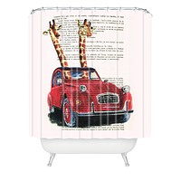 Coco de Paris 2 Giraffes In A French Car Shower Curtain
