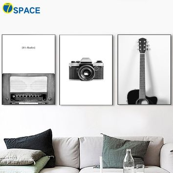 Camera Guitar Radio Canvas Painting Nordic Posters And Prints Wall Art Canvas Prints Wall Pictures For Living Room Home Decor