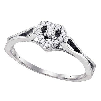 10kt White Gold Women's Round Diamond Heart Love Promise Bridal Ring 1/10 Cttw - FREE Shipping (US/CAN)