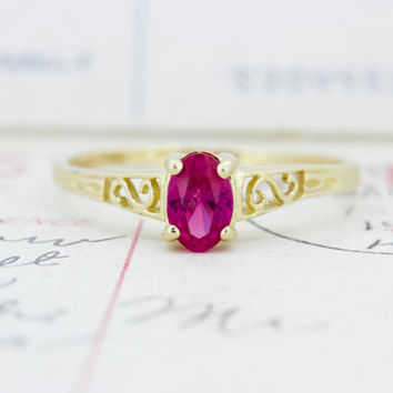 Antique Filigree Ring | Ruby Promise Ring | Dainty Gemstone Ring | 14k Yellow Gold Cocktail Ring | Vintage Stacking Ring | Size 6.5