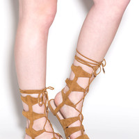 Lace Yourself Caged Gladiator Sandals